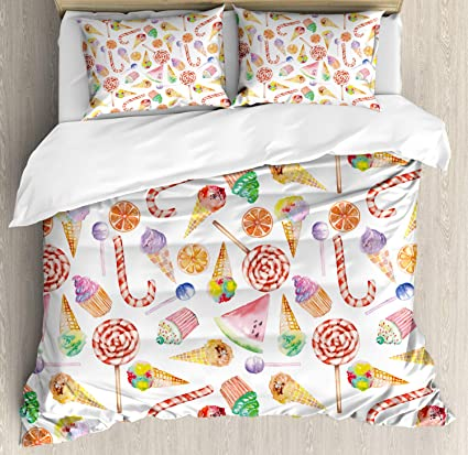 Amazon.com: Ambesonne Colorful Duvet Cover Set King Size ...