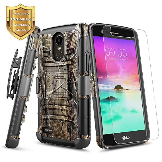 official photos 73e13 b27d2 LG Stylo 3 Case, LG Stylo 3 Plus/LG Stylus 3 w/[Tempered Glass Screen  Protector], NageBee Belt Clip Holster Defender Heavy Duty Shock Proof  Kickstand ...