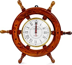 """16"""" Hand Crafted Wooden Ship Wheel with 6"""" Wall Decor Premium Vintage Roman Dial Time's Clock   Maritime Decorative Exclusive Wall Decor Clock   Nagina International"""