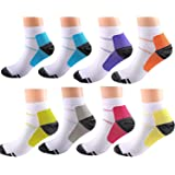 8 Pairs Compression Socks for Women and Men, Plantar Fasciitis Arch Support Low Cut Running Gym Compression Foot Socks