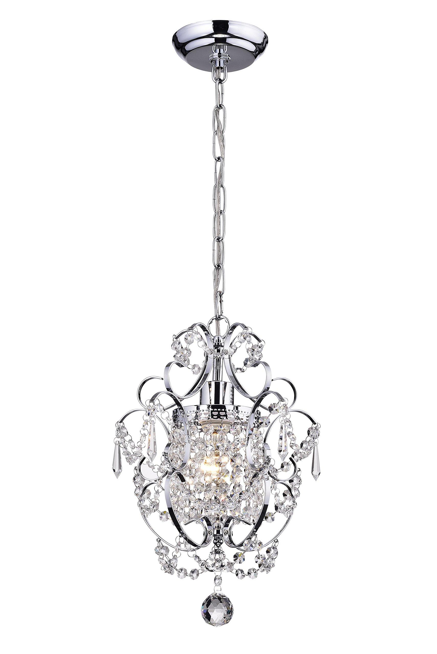 Edvivi Amorette 1-Light Chrome Finish Mini Pendant Chandelier Wrought Iron Ceiling Light Fixture | Glam Lighting by Edvivi (Image #2)