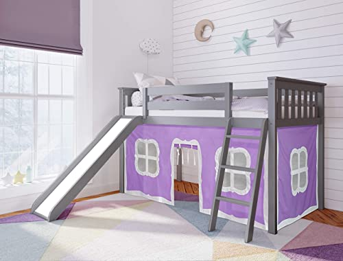 Max Lily Twin Low Loft with Slide and Purple Curtains, Grey