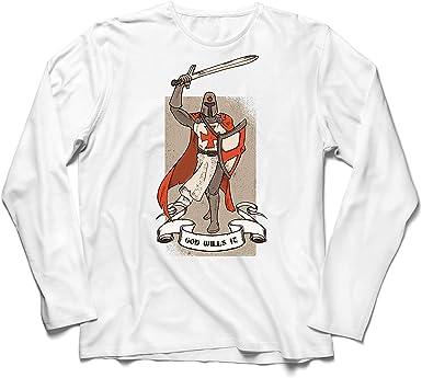 lepni.me Camiseta de Manga Larga para Hombre ¡Dios lo Quiere! El Caballero Templario, Cruz Roja Cruzada