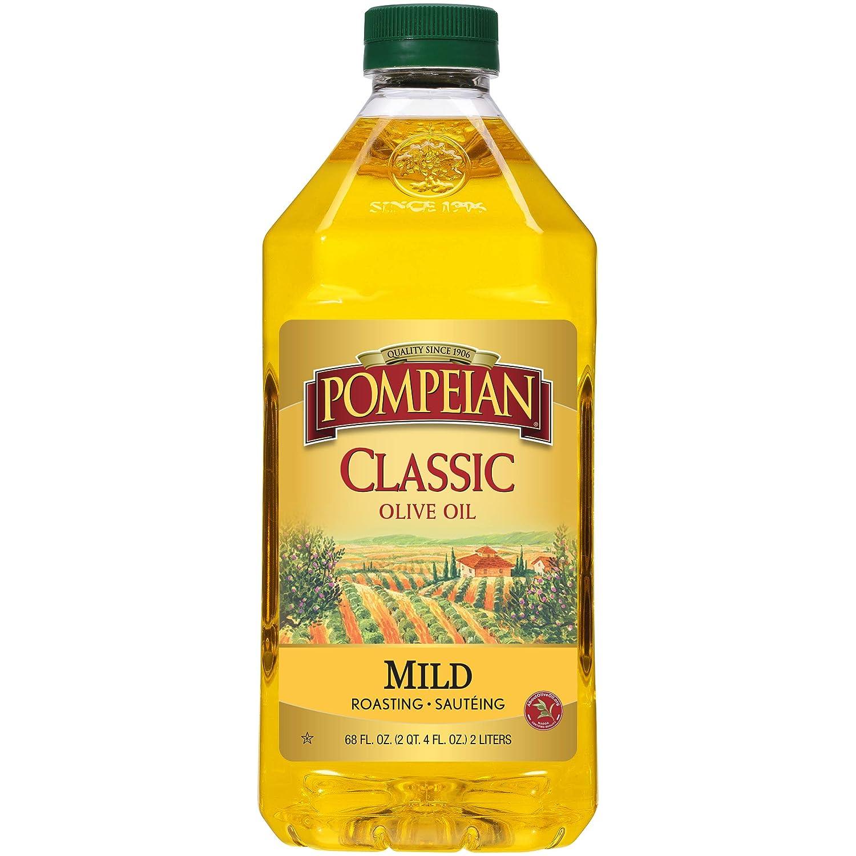 Pompeian Classic Olive Oil, Mild Flavor, Perfect for Roasting and Sauteing, Naturally Gluten Free, Non-Allergenic, Non-GMO, 68 FL. OZ., Single Bottle