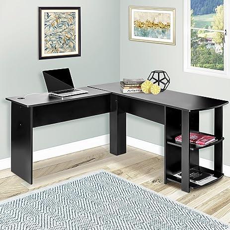 Harper Bright Designs L Shaped Computer Desk With Bookshelves Corner Table Workstation Office