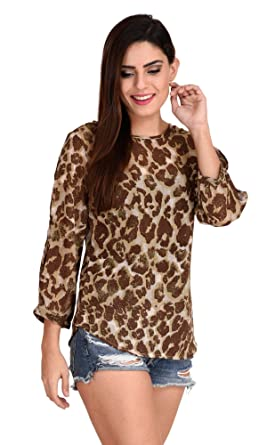 The Gud Look Women s Multi Animal Print Top  Amazon.in  Clothing ... a20ec0235