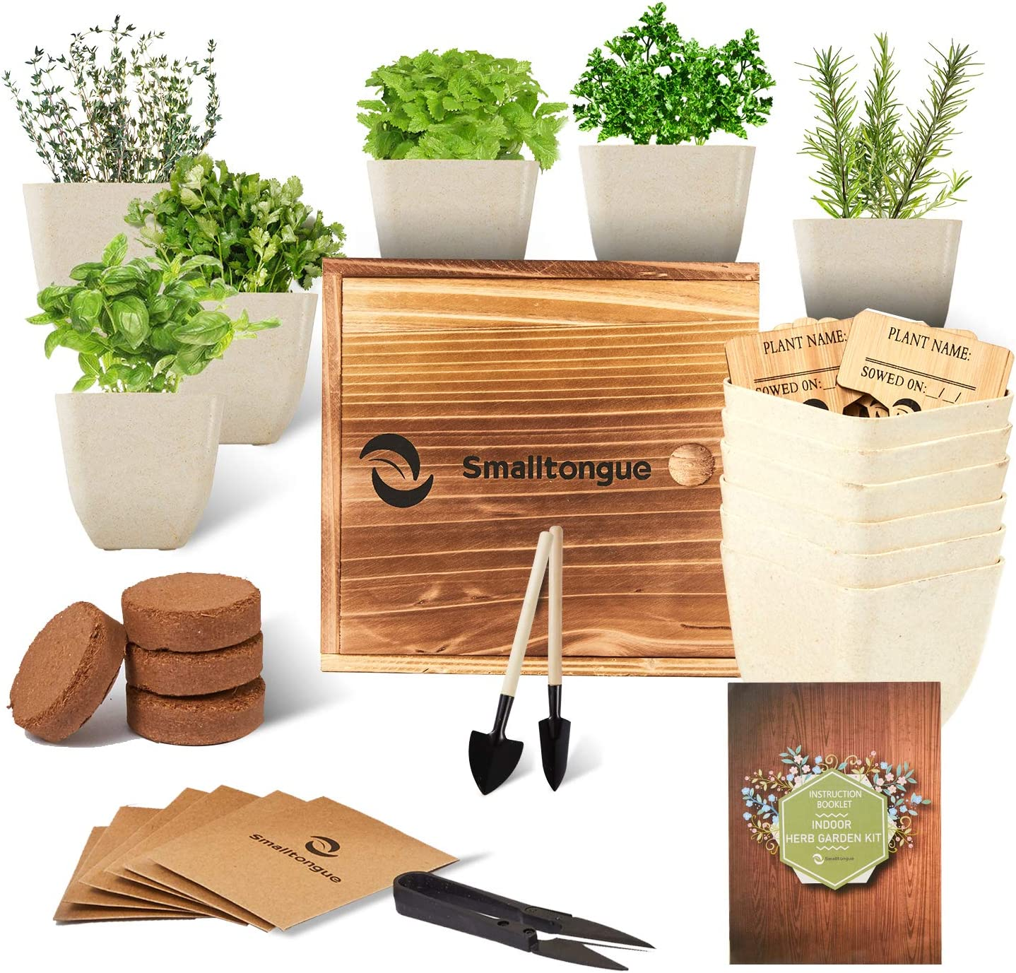 Smalltongue Indoor Herb Garden Kit, 6 Types of Herb with 6 Pots, Herb Garden Starter Kit for Beginner, Adult, Kitchen, Balcony, Window Sill