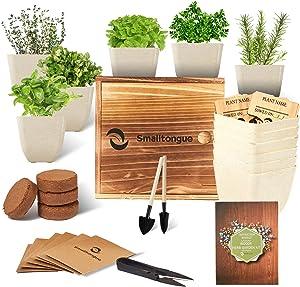 Smalltongue Indoor Herb Garden Kit, 6 Types of Herb with 6 Pots, Herb Garden Starter Kit for Beginner, Adult, Kitchen, Balcony, Window Sill