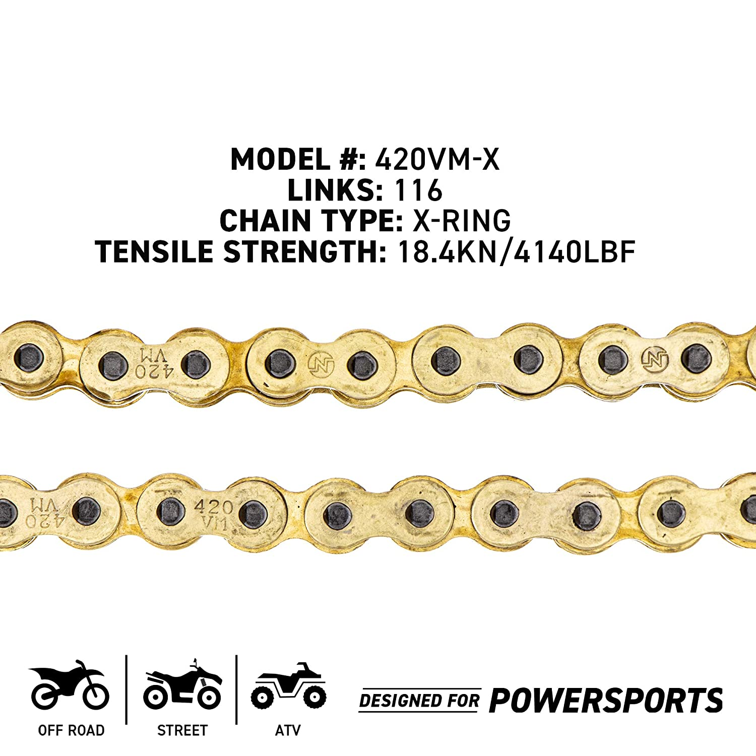 NICHE Gold 420 X-Ring Chain 112 Links With Connecting Master Link