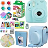 FujiFilm Instax Mini 9 Instant Camera ICE BLUE + Fuji INSTAX Film (20 Sheets) + Instax Accessory Kit BUNDLE Includes; Blue Custom Fitted Case + Photo Album + Fun Frames + Stickers / Lenses + MORE
