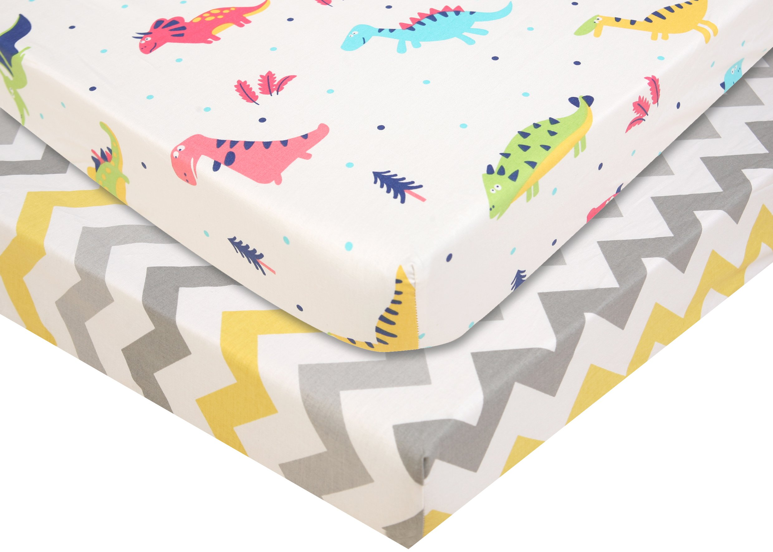 Pack N Play Playard Sheet - 2 Pack 100% Premium Cotton, Fits Perfectly Graco Pack N Play, Dream On Me Playard Mattress 3'' Or Any Standard Mini Crib Mattress, Happy Dinos and Chevron