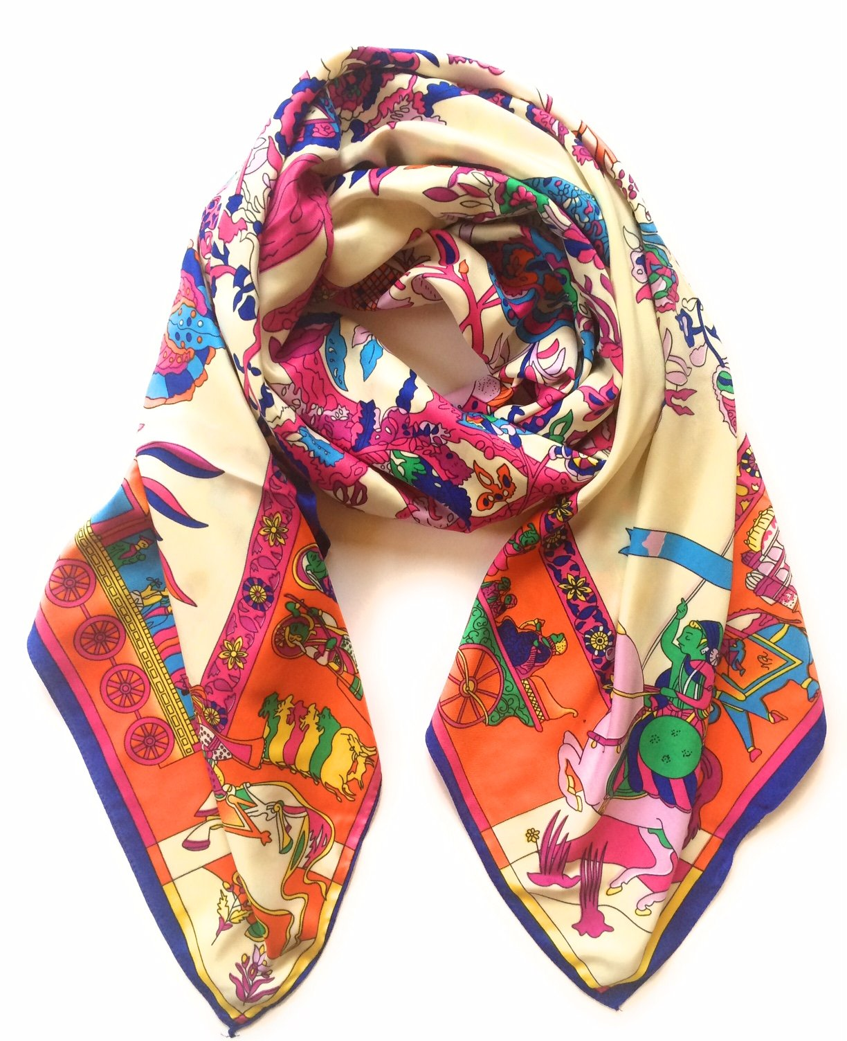 SILK SQUARE IN STYLE OF HERMES SCARF SILK SHAWL SILK WRAP WOMENS FASHION SCARF