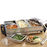 Buffet Server Hotplate Food Warmer Hostess with 4 Removable Sections & Adjustable Temperature Control, 300W by Cooks Professional (Buffet Warmer)