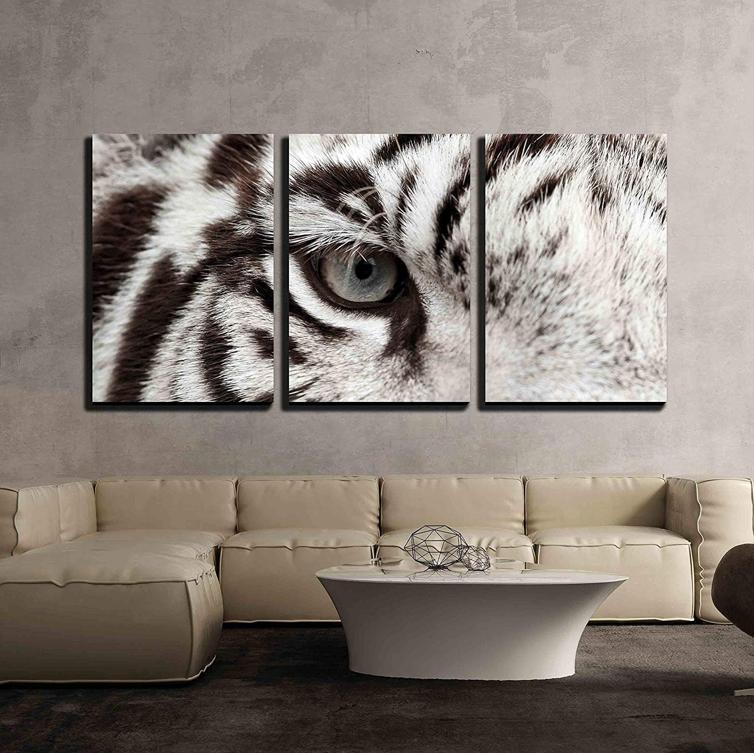 wall26 - 3 Piece Canvas Wall Art - Close Up of White Bengal Tiger Eye - Modern Home Decor Stretched and Framed Ready to Hang - 16''x24''x3 Panels by wall26 (Image #2)