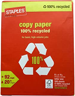 Staples 100 Recycled Copy Fax Laser Inkjet Printer Paper 500 Sheets Bright White