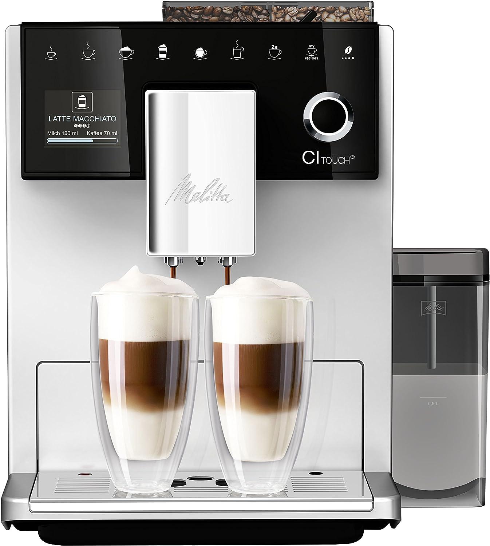 Melitta CI Touch F630-101, Cafetera Automática con Molinillo Silencioso, Sistema de Leche, Pantalla Táctil, Limpieza Automática, Personalizable, 15 Bares, Plata: Amazon.es: Hogar