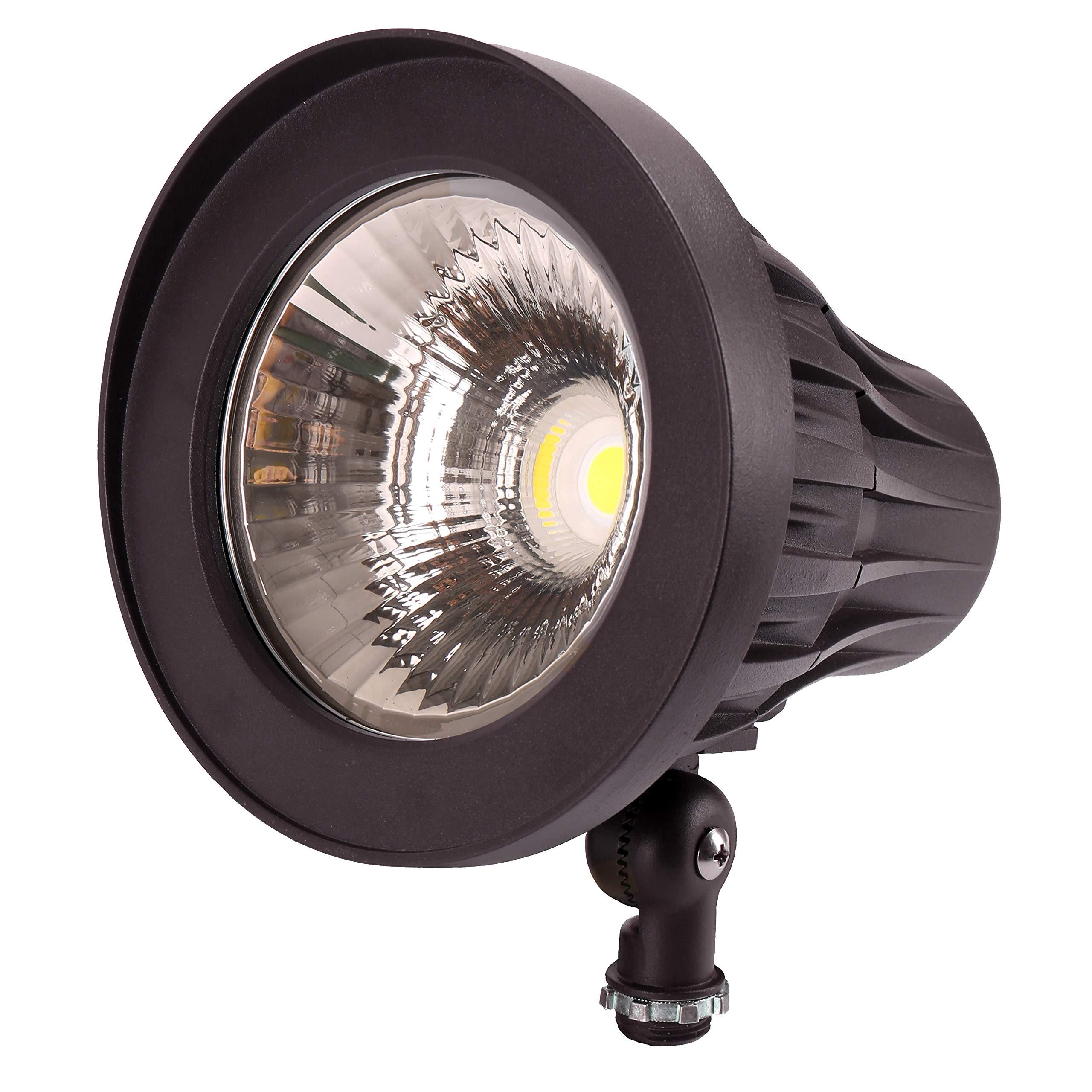 GKOLED 20W Bullet/Round Outdoor Spotlight, Narrow Beam Angle Light, 2500 Lumens Aluminum Waterproof Flag Pole Light, 5000K Daylight White, 120-277V AC, UL Listed and DLC Qualified, 5 Years Warranty