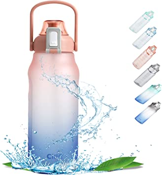Cille Sports Water Bottle Straw Motivational 64oz-half gallon BPA Free Leak-Proof With Handle and Straw Throughout The Whole Day for Camping Hiking Water Jug Sports Outdoor Exercise Enthusiasts