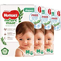 Huggies Platinum Naturemade M Diapers + Free Huggies Pure Clean Wipes, 192 count (Pack of 3)