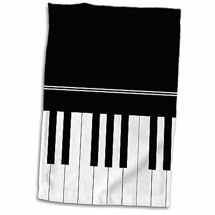 3dRose Teclado de Piano, diseño de Llaves Negras, Toalla de Regalo de Jugador Musical