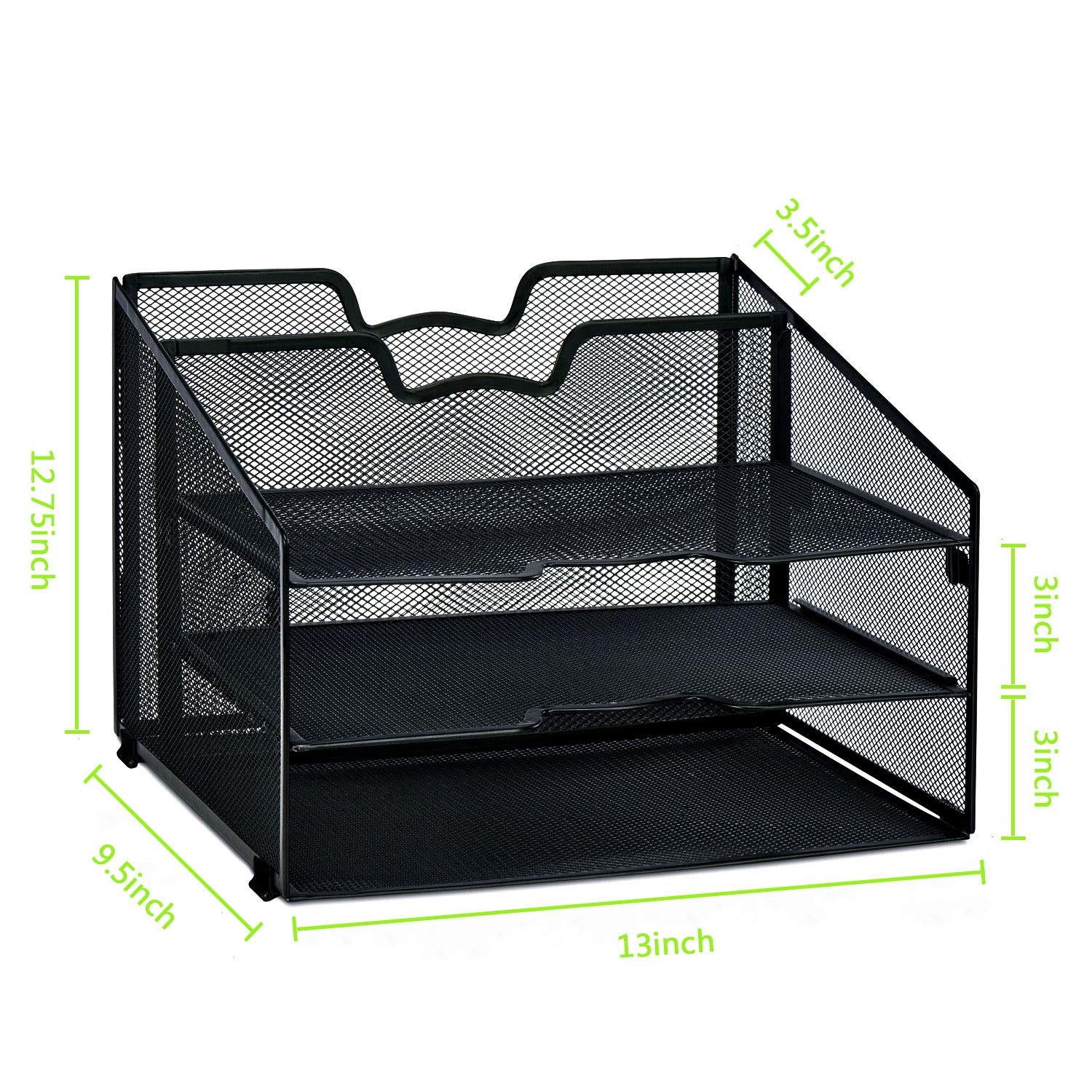 Black Rackarster Mesh Desk Organizer Desktop File Organizer with 3 Paper Organizer Letter Tray and a Vertical Separate Compartment