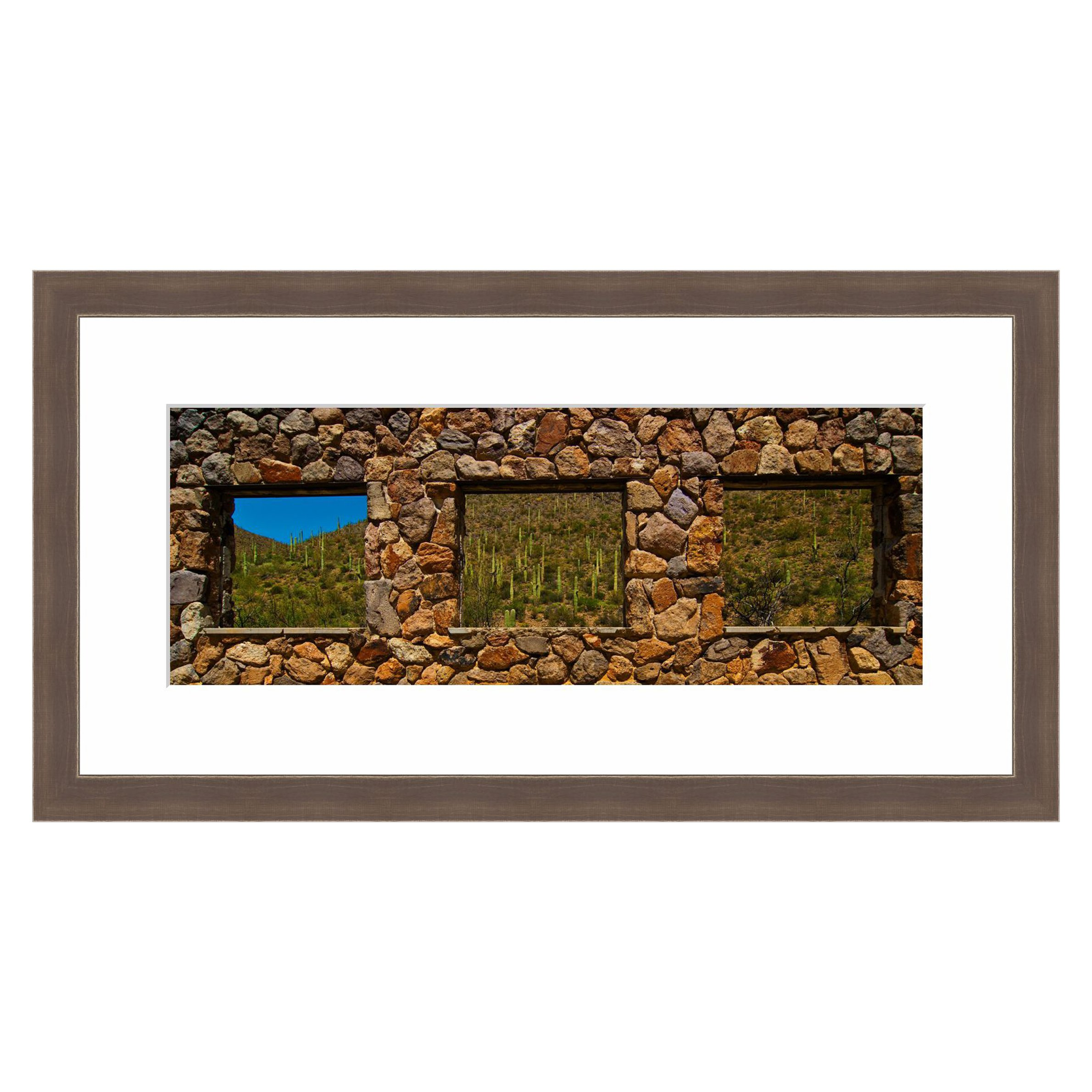 eFrame Fine Art | Stone Window Yetwin Trail Tuscon Mountain Park Arizona by Howard Paley 11'' x 30'' Framed and Unframed Wall Art for Wall Decor or Home Decor (Black, Brown, White Frame or No Frame)