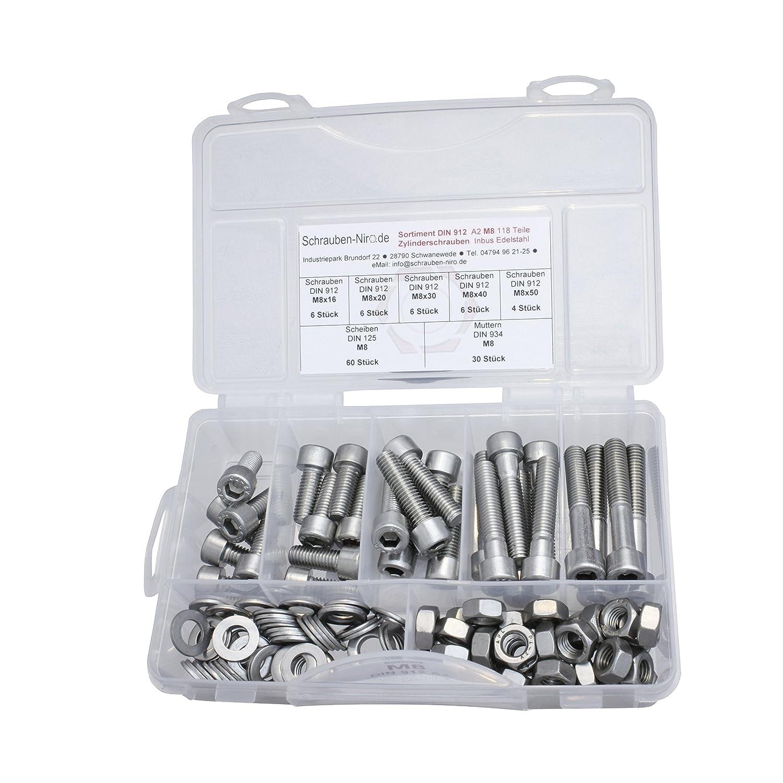 Scheiben /& Muttern Sortiment//Set Edelstahlschrauben DIN 933 912 VA A2 V2A inkl