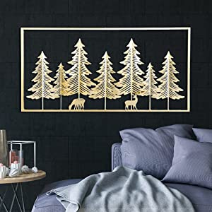 Meekear Gold Wall Sculptures, 39 Inch Golden Rectangular Metal Wall Decor with Frame, Pine Tree and Deers Wall Sculpture for Living Room, Bedroom, Office, Study, Large