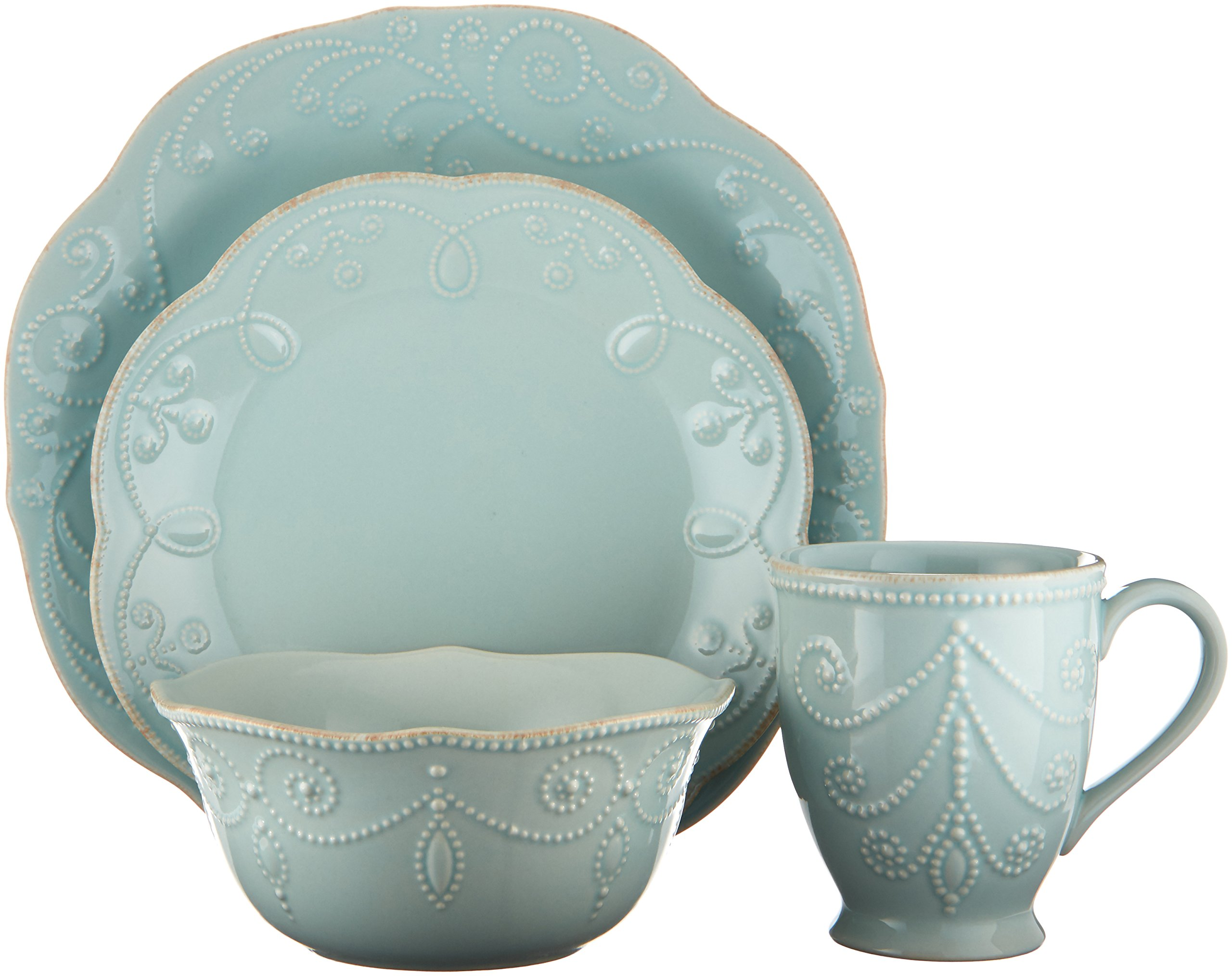 Lenox French Perle 4-Piece Place Setting, Ice Blue - 824431 - 4 colors available   white, ice blue, pistachio and violet Made of durable stoneware Dishwasher & Microwave Safe - kitchen-tabletop, kitchen-dining-room, dinnerware-sets - 81hsddZqWaL -