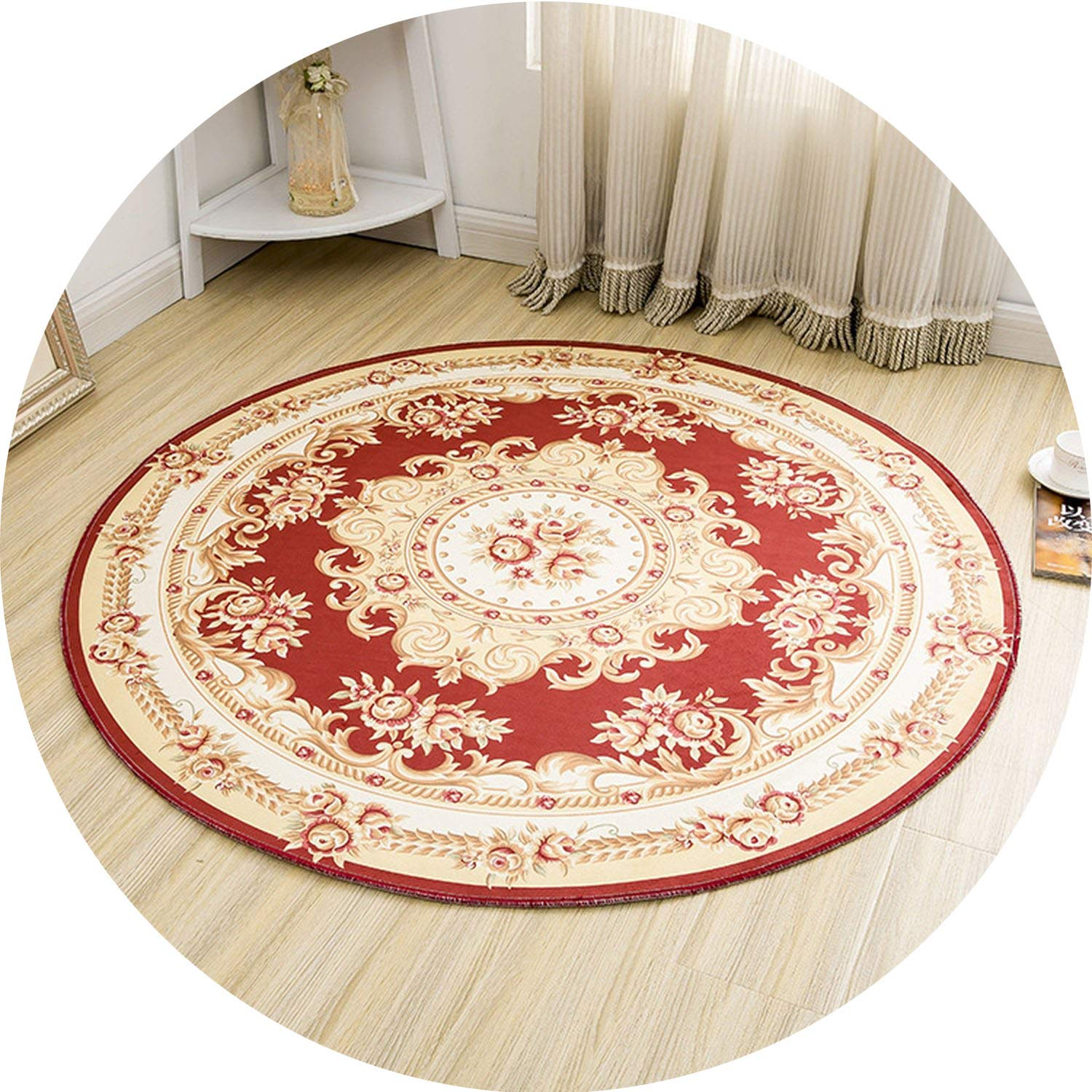 Round Jacquard Countryside Carpets for Living Room Flower Bedroom Rugs and Carpets Computer Chair Floor Mat Cloakroom Area Rug,1,100cm Diameter by Ting room