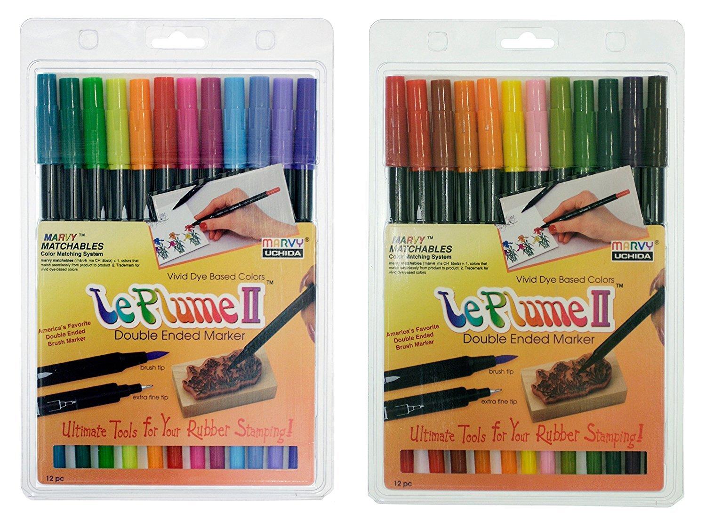 Uchida of America Bundle, Two Sets of 12-1122-12E Le Plume II Bright Pen Set and 1122-12F Le Plume II Garden Pen Set by Uchida of America, Marvy