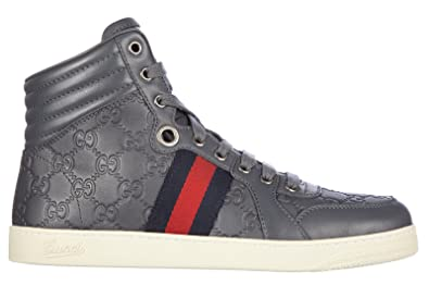 93b296ff7 Gucci men's shoes high top leather trainers sneakers miro soft grey UK size  9 221825 A9L90