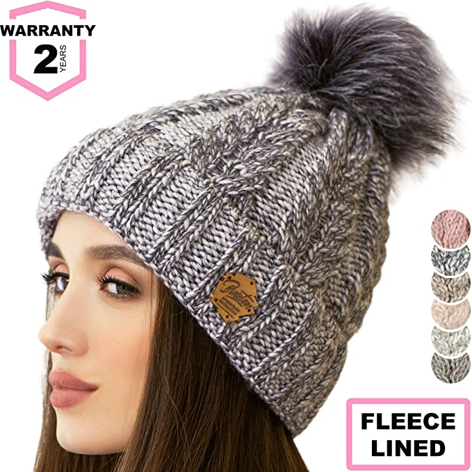 e4200e480e4be Image Unavailable. Image not available for. Color  Braxton Knit Hat for  Women - Pom Cable Winter Warm Fleece Beanie - Wool Snow Cuff