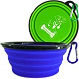 "Mr. Peanut's Extra Large 34oz, 7"" Diameter Collapsible Dog Bowls for Large & Med Dogs, 2 Pak, Dishwasher Safe BPA FREE Food Grade Silicone, Portable Foldable Travel Pet Bowls for Journeys & Hikes"