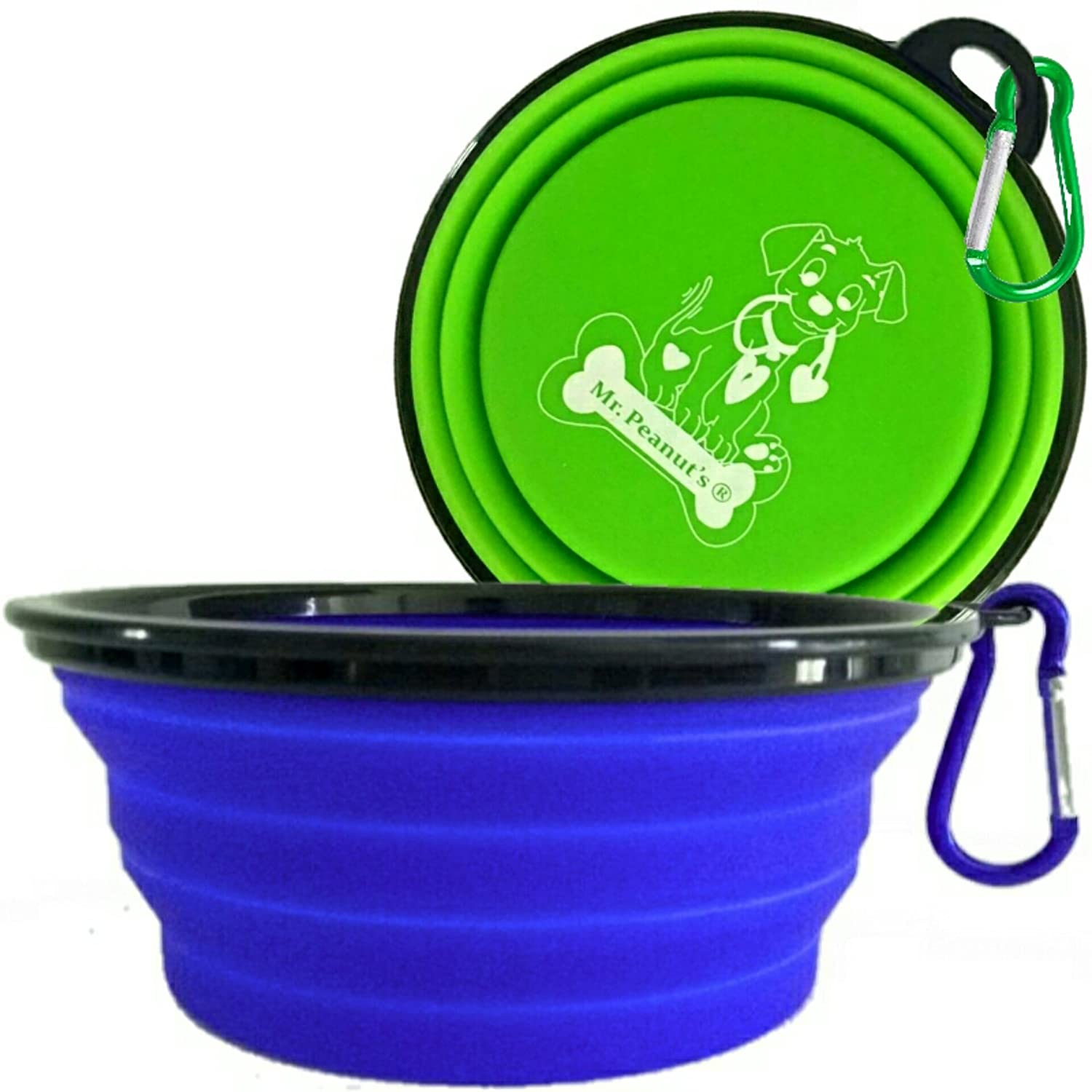 """Mr. Peanut's XL Collapsible Dog Bowls - 2 Pak - Extra Large 34oz, 7"""" Diameter for Large Dogs - Dishwasher Safe BPA FREE Food Grade Silicone - Portable Foldable Travel Pet Bowls for Journeys & Hikes"""