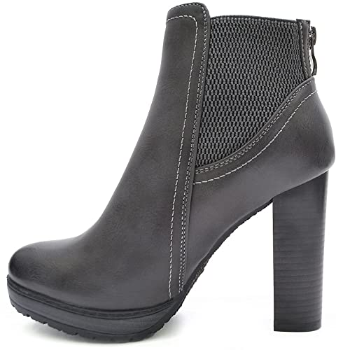 52a24a99938e3d Kayla Shoes Chelsea Boots Plateau Stiefeletten mit Blockabsatz in Holzoptik  (36