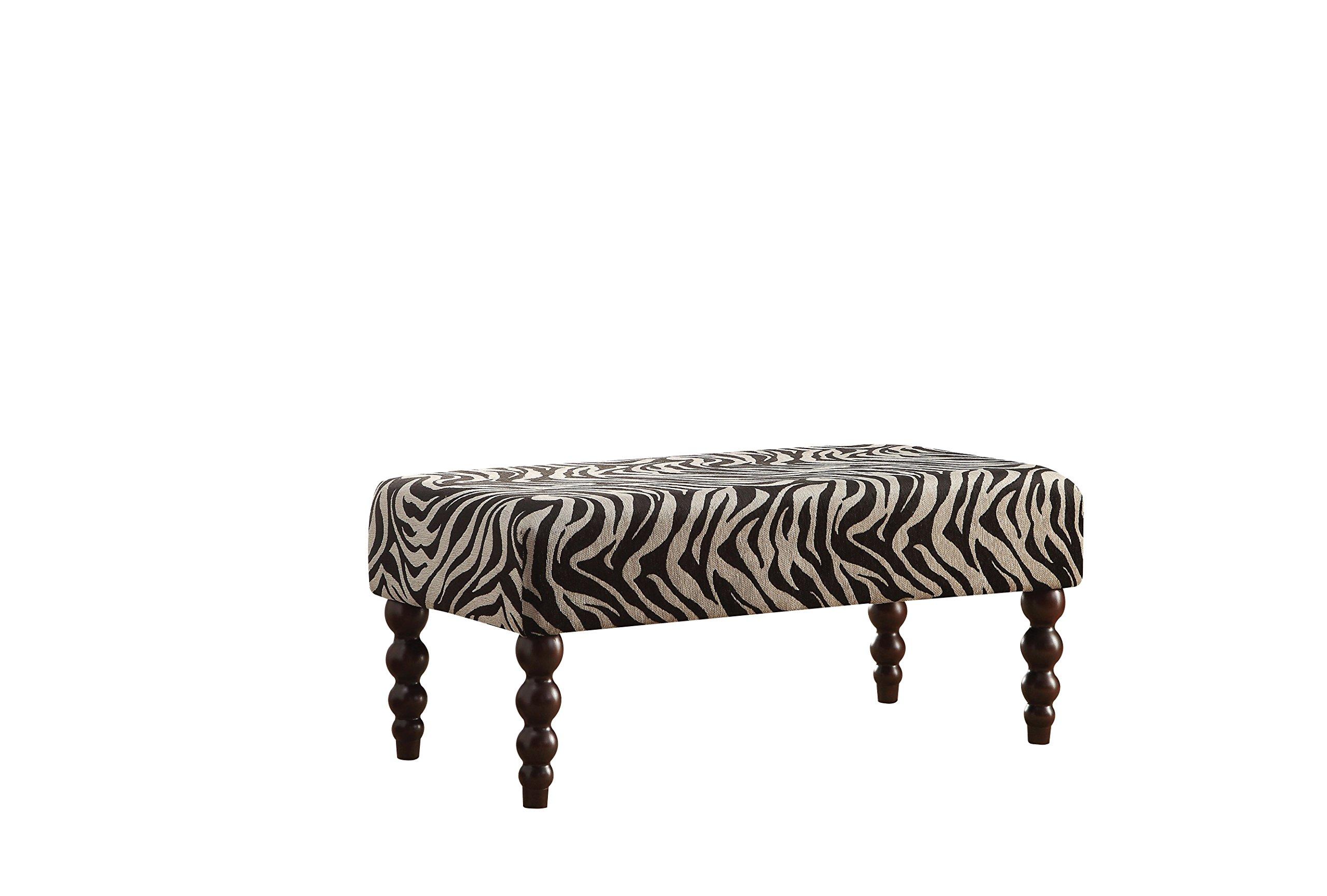 Acme Furniture 96626 Alysha Bench, Zebra Fabric