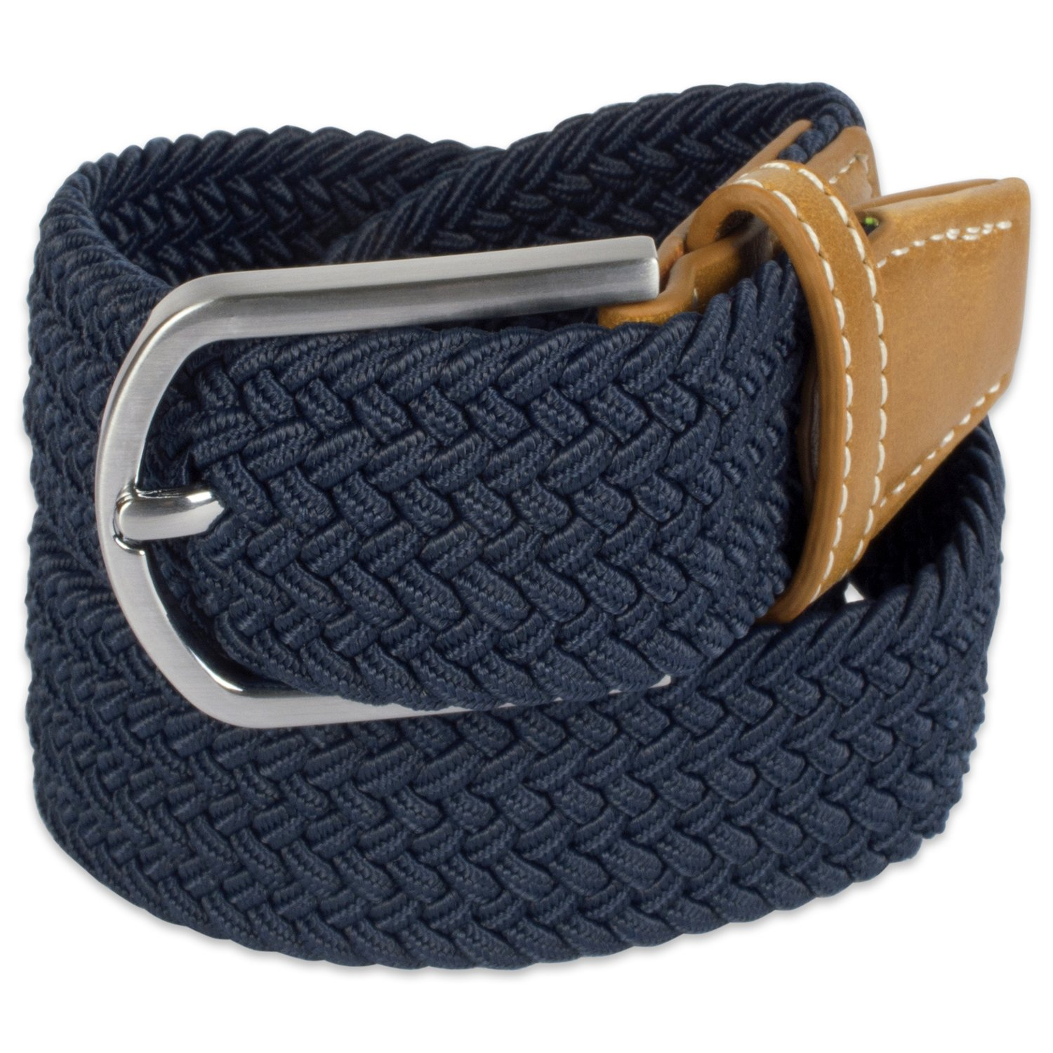 E-Living Store Men's 32mm Woven Expandable Braided Stretch Belts, Sizes, Navy, Large (Waist Size 38-40'')