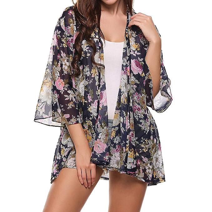 Kimono Mujer Verano Vintage Floreadas Chiffon Cardigan Elegantes Moda Anchas Sencillos Casual Aireado Delgado Beach Blusas