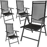 TecTake Aluminium Klappstuhl Gartenstuhl Set verstellbar mit Armlehnen - diverse Farben und Mengen - (Anthrazit | 4er Set | Nr. 401634)