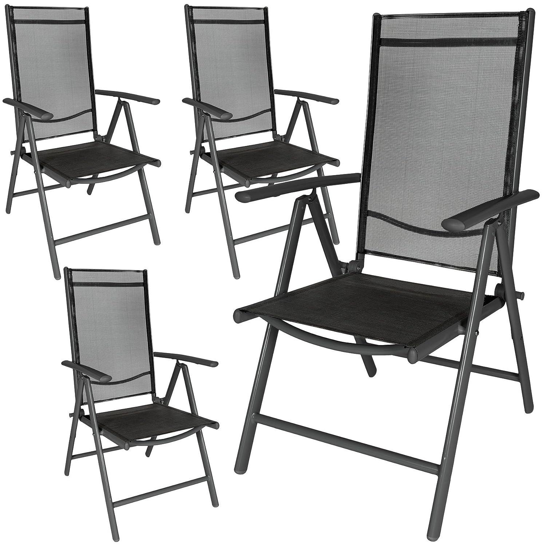 TecTake 4er Set Aluminium Klappstuhl Gartenstuhl verstellbar mit Armlehnen anthrazit/schwarz