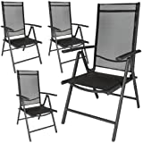 TecTake Set of 4 Aluminium folding garden chairs adjustable with armrests anthracite/black