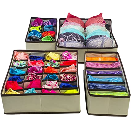 Sorbus Set of 4 Foldable Drawer Dividers, Storage Boxes, Closet Organizers, Under Bed