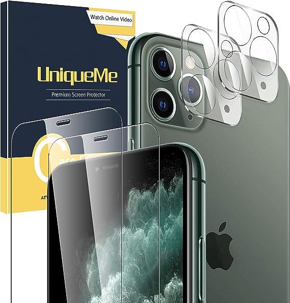 UniqueMe [2 Pack] Protector de Pantalla para iPhone 11 Pro [5.8 inch] [2 Pack] Protector de Lente de cámara para iPhone 11 Pro, Vidrio Templado [9H Dureza ] HD Film Cristal Templado: Amazon.es: Electrónica