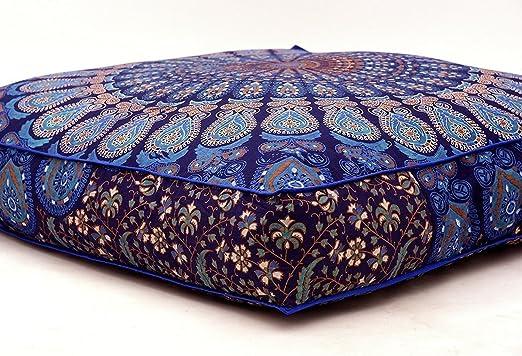 Azul grande cubierta de cojín de suelo puf infantil con ...