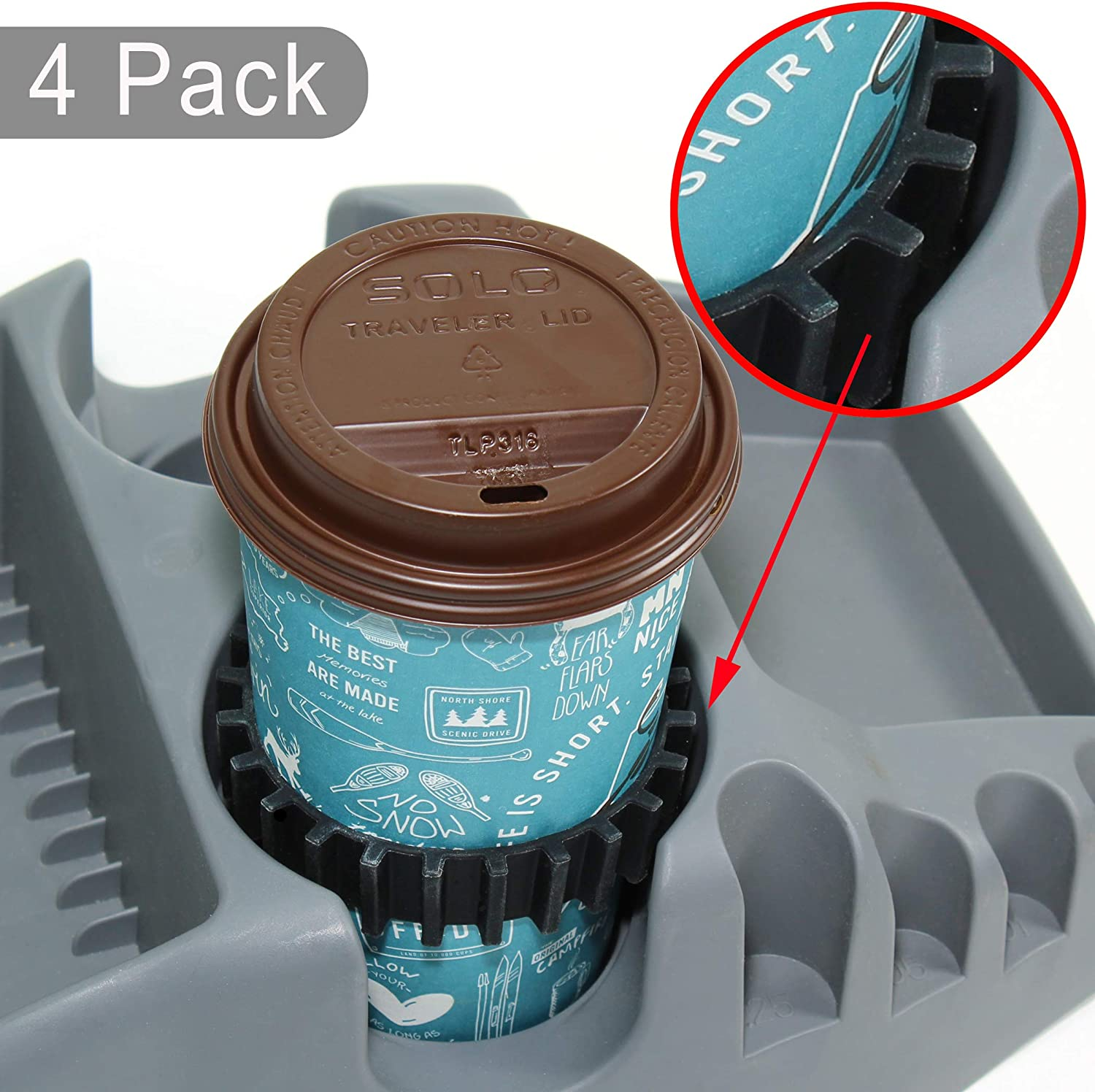 Gadjit Beverage Bands Car Cup Holder Adapter - Stop On-The-Go Drinks from Wobbling in Your Cup Holder (4 Pack) | Keeps 8-28 oz Coffee Cups, 12-16 oz Soda Cans, 20 oz Water Bottles, Mugs from Tipping