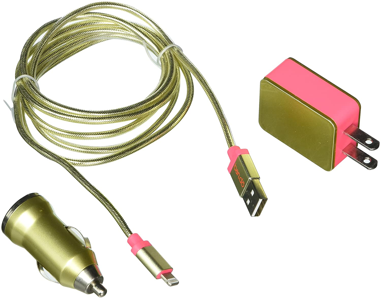 Bando Charger Set with Wall and Car Charger and USB Cord for Iphone 5/5s/5c, 6/6s/Plus - Retail Packaging - Metallic Gold The Regatta Group DBA Beauty Depot 825466939356