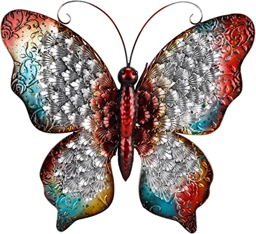 Chisheen Butterfly Wall Decor Red Metal Sculpture for Hanging Indoor or Outdoor Large Size Butterfly