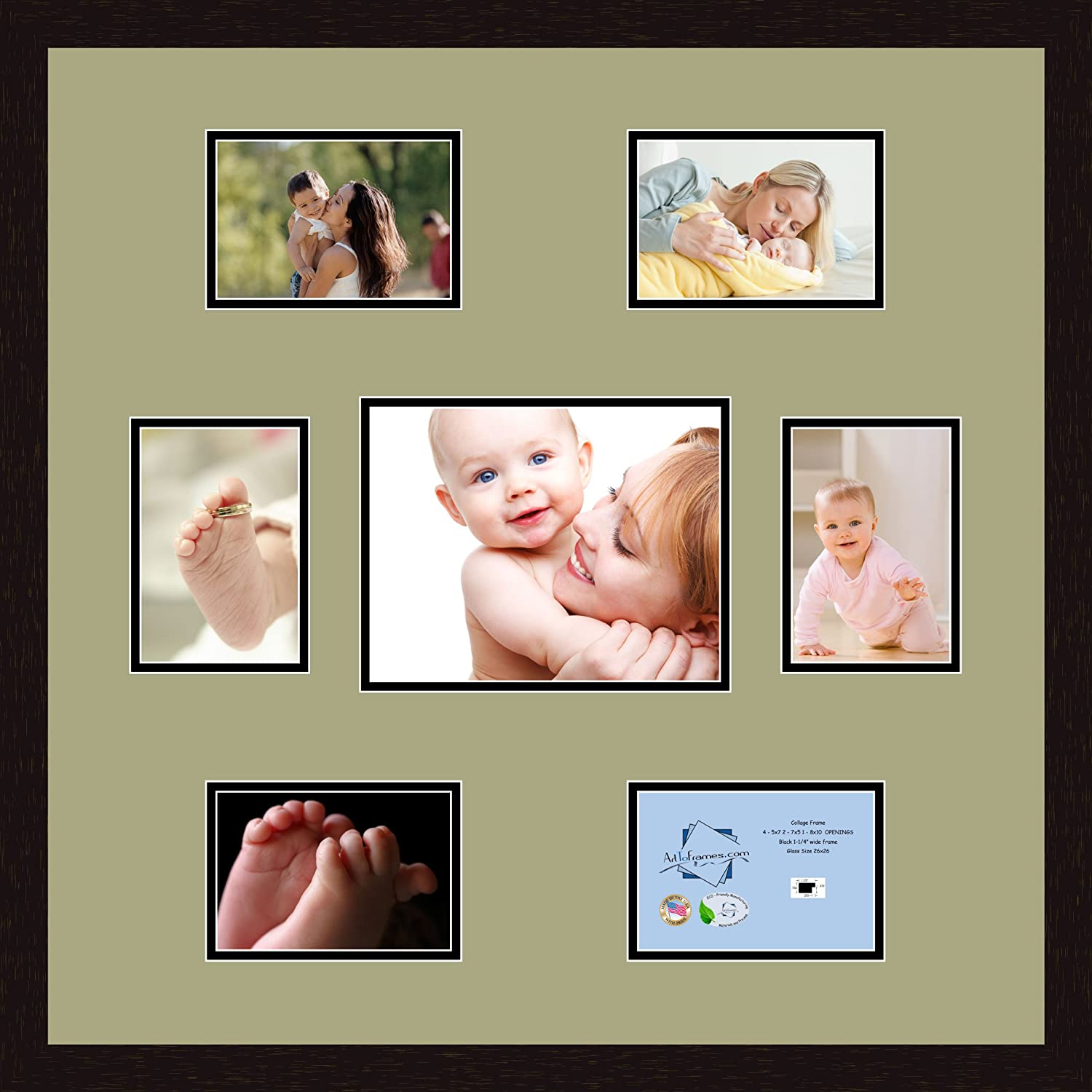 Art to Frames Double-Multimat-350-861//89-FRBW26061 Collage Frame Photo Mat Double Mat with 6-5x7 and 1-8x10 Openings and Espresso frame