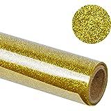 "RUSPEPA 20"" X 12"" Glitter Flake Heat Transfer Vinyl Roll for T-shirt, Garments Bags and Other Fabrics (Gold)"